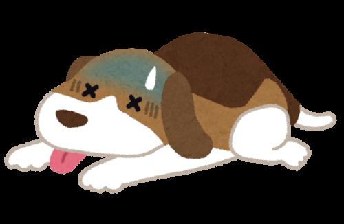 ぐったりする犬のイラスト