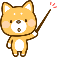 指示棒を指す犬のイラスト