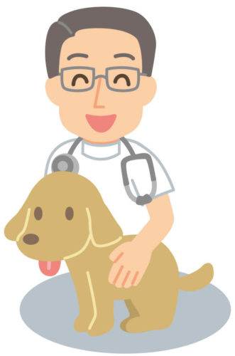 笑っている獣医のイラスト