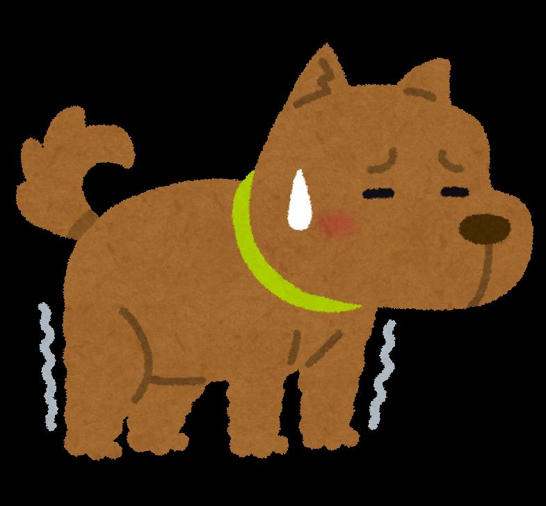 足腰が衰えたシニア犬のイラスト