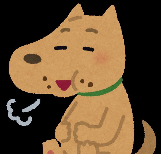おやつを盗み食いして満腹の犬のイラスト