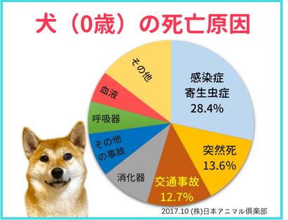 犬の幼齢期(0歳)での死亡原因の円グラフ
