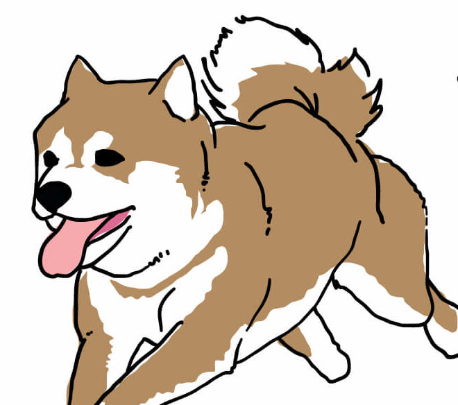 走る柴犬のイラスト