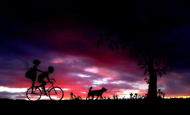 夕暮れ時に犬と自転車にのる少年と少女