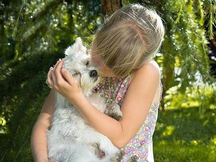 愛犬を抱っこしている少女
