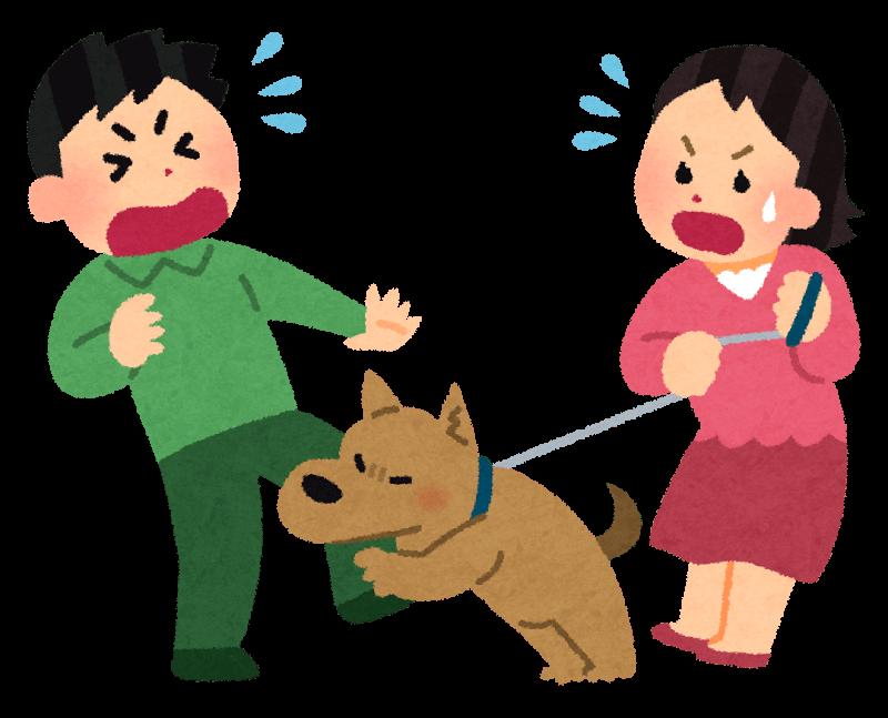 男に咬みつく犬